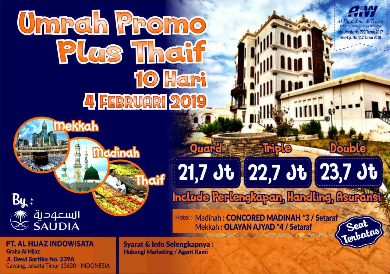 Paket Umroh Plus Thaif 2019 10 Hari